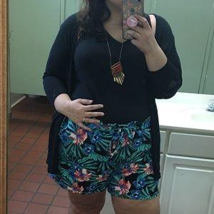 Paper Bag Waist Tropical Shorts